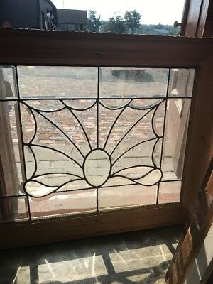 Sg 2339 Antique All Beveled Glass Landing Window 37 X 30.25