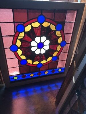 SG 2342 antique Stainglass landing window with Large Jewels 38.5 x 34.25 wide