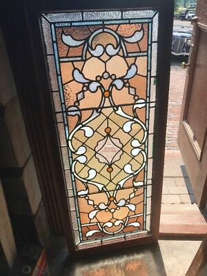 Sg 2343 Gorgeous Antique Stainglass Transom Window 22 X 53 Unusual Jewels
