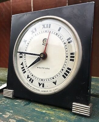 Old Vintage Antique USA Westclox Alarm Clock Art Deco Industrial Architectural
