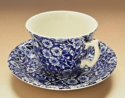 Vintage ROYAL CROWNFORD Blue Calico Tea Cup & Saucer Set - NEVER USED!!