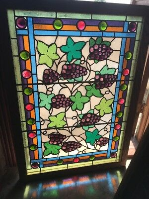 SG 2347 antique jeweled grape and grape Leaves landing window 29.7 5H  X 41.5 W