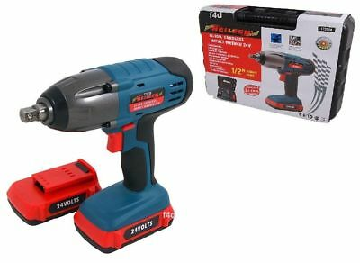 "Heavy Duty 24V Lithium 1/2"" Cordless Impact Wrench Ratchet & 2 Batteries In Case"