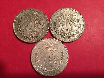 (3) UN PESO Mexico/MEXICAN .720 SILVER, 1922, 1926, 1933, high grade-Lot#233