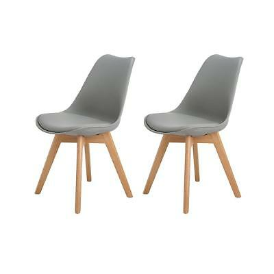 2X Charles Eames Style Oak Dining Chairs Oak Furniture Leather Chair Soft Padded