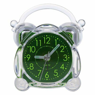 Small Crystal Plastic Desk Bell Alarm Clock with Light B3Q5