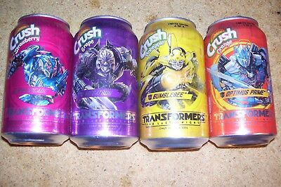 crush transformers Collector 12 OZ Can set all 4 bumblebee prime bottom opened