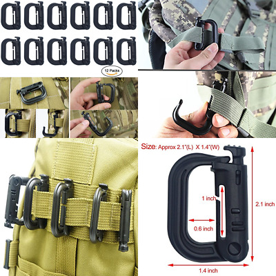 12 Pack Molle Clips D Ring Grimlock Clip Accessores For Pouch Webbing Backpack S