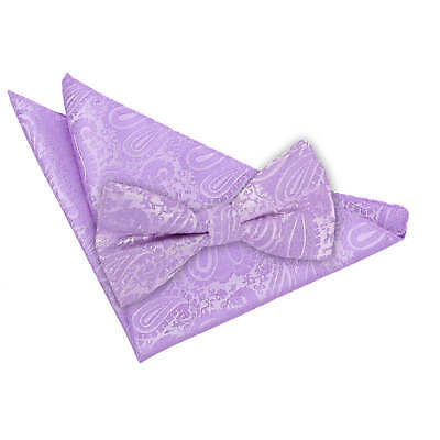 DQT Woven Floral Paisley Silver Mens Pre-Tied Bow Tie /& Hanky Wedding Set