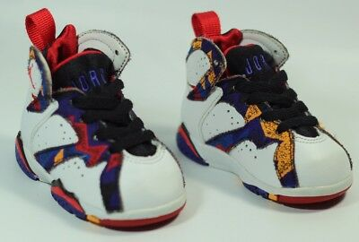 861034414f9445 Jordan 7 VII Retro Nothing but Net 304772-142 White Red Black Toddler Size  3C