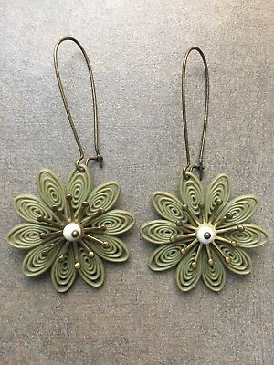 Vintage Olive Green Plastic  Art Deco Inspired Flower Earrings