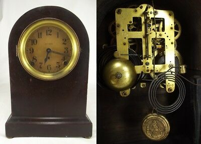 ANTIQUE SETH THOMAS MANTEL CLOCK key 89C wood round top RARE both GONG & BELL
