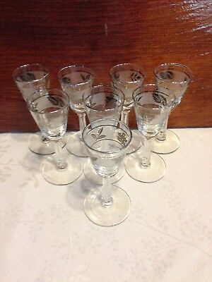 Silver Plated Etched Cordial Glasses - Antique/Vintage - Set of 8