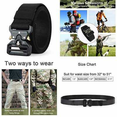 Tactical Belt Military Style Webbing Riggers Nylon W Heavy Duty Quick Release Me