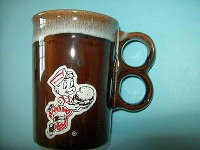 Vintage 1960s Manners Big Boy Brown Ceramic Coffee Mug