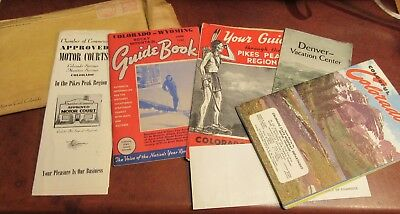 Vintage 1948 Colorado Travel Brochures Flyers & Map Mailed From Denver Chamber !