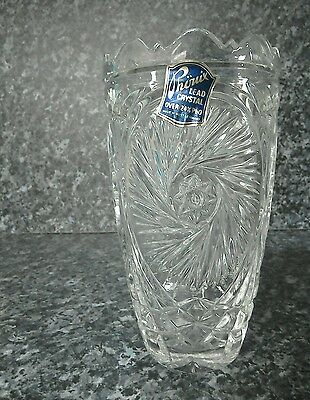 Made in West Germany heavy lead crystal cut glass patterned vase