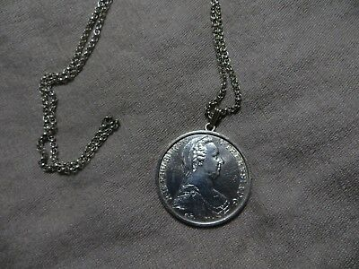 1780 Vienna Maria-Theresia Austro-Austria-Hungary Taler Silver Coin necklace 925