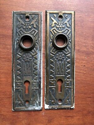2 Antique Ornate Brassed Door Handle Key Hole Plates