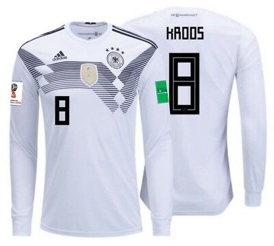 new style 184f0 8bf36 ADIDAS TONY KROOS Germany Long Sleeve Home Jersey World Cup 2018 Patches.