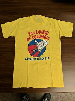 Vintage 1981 Space Shuttle Columbia Tee NASA 1980s Yellow t-shirt