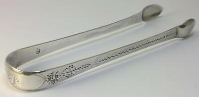 Georgian Newcastle hallmarked Sterling Silver Tongs – c1800 by John Langlands II