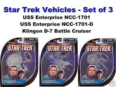 STAR TREK Keychains Set of 3 Enterprise NCC-1701 Klingon D7 Battle NEW Retired