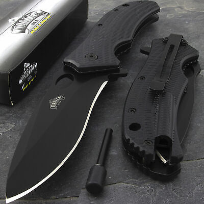 "TACTICAL USA 9"" SPRING ASSISTED FOLDING POCKET KNIFE w/ FIRE STARTER Open Assist"
