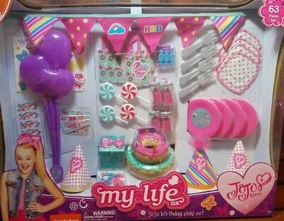 New Jojo Siwa My Life Birthday Party 63PC For Doll Cake Decorations Accessories