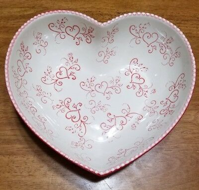 Temptations by Tara Romance Floral Lace Red Ceramic 2 Qt. Heart Shaped Bowl