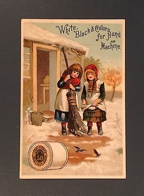 Victorian Trade Cards - J&P Coats Spool Cotton - Two Girls, Birds, Snow - 1800's