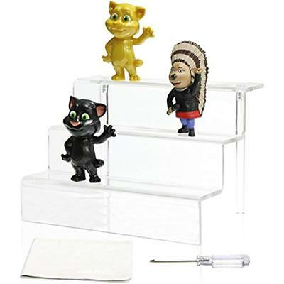 Acrylic Riser Display Stand Shelf Amiibo Funko Pop Figure, 3 Steps Decoration