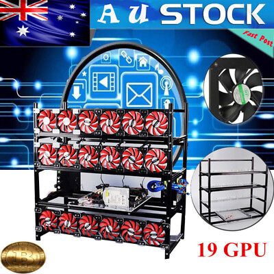 19GPU Stackable Aluminum Mining Rig Frame Case Open Air Frame Miner For TH/ETC