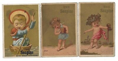 3 Soapine Soap Victorian Trade Cards Kendall Mfg. Providence R. I.-Children