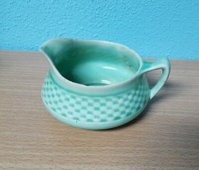 W S George CREAMER Green Antique RARE! Basketweave Green 1848