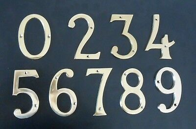 """HEAVY LARGE CAST BRASS 4"""" (100mm) HOUSE DOOR NUMBERS NUMERALS - POLISHED BRASS"""