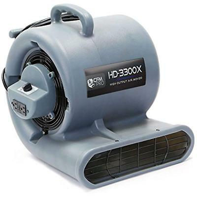 Air Mover Carpet Floor Dryer 3 Speed 1/3 HP Blower Fan 2 GFCI Outlets - Grey