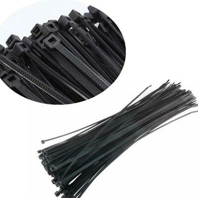 100 QTY Black 3mm x 200mm Nylon Plastic Cable Zip Tie Ties Free Freight NEW