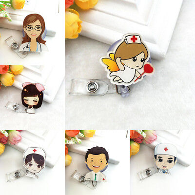 Fashion Cartoon Nurse Name Tag Key Card Holder Badge Clip Retractable