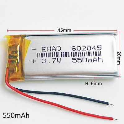 550mAh Lipo Rechargeable Battery Polymer 3.7V for smart watch MP3 DVD GPS 602045