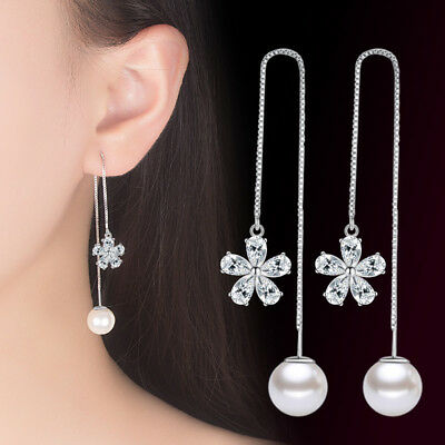 925 Sterling Silver Earrings Flower Pearl Tassel Style Women Fashion Jewelry