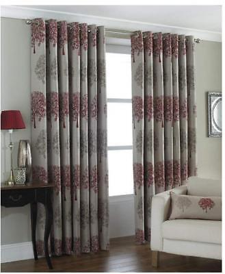 Riva Paoletti Oakdale Ringtop Eyelet Curtains Red and Beige 229cm width x 137cm