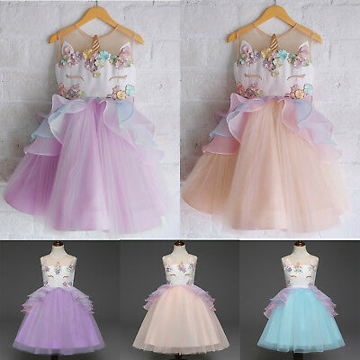 AU Chiffon 3D Unicorn Kid Girls Fairy Princess Sleeveless Dress Pageant Skirts