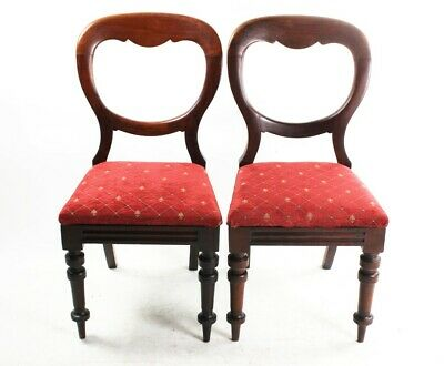 A Pair of Antique Walnut Balloon Back Chairs - FREE Shipping [4501A]