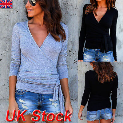 UK Womens Wrap V-neck Long Sleeve T Shirt Ladies Casual Tops Blouse Bottoms Tee