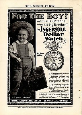 Full Page 1904 Ingersoll Dollar Watch Ad-Ready To Travel