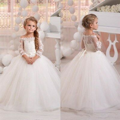 Flower Girls Dress Party Formal Christening Bridal Bridesmaid Wedding Prom Gowns