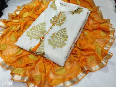 Indian Chanderi Cotton Suits Embroidery punjabi Suit Indian Dress Material 02