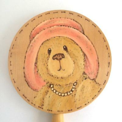 Little Girl's Pine Wooden Hand Mirror Mummy Lady Mrs Bear Painted on Back