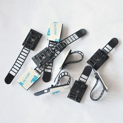 10/100 pcs Wire Clip Mount Clamp Self-adhesive Black Car Tie Rectangle Cable UK